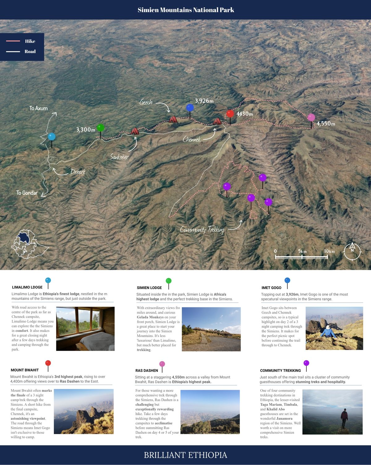 Simien Mountains National Park Map